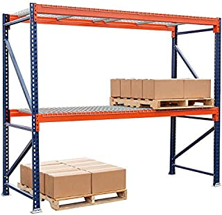 Storage-Pro Pallet Rack Starter Unit with Wire Decking for Hand-Stacked Goods and Pallets. Industrial Shelving. 4,390 Lbs. Capacity per Level. 120