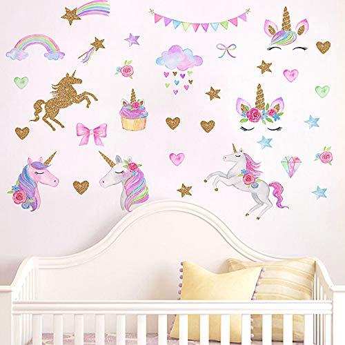 Pegatinas de Pared Unicornio, Comius Sharp Decoración de Pared de Arcoiris Unicornio para Dormitorio Infantiles Habitación Bebés Niñas (1)