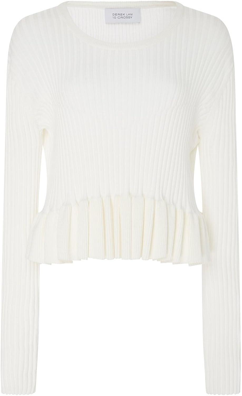 Derek Lam 10 Crosby White Peplum Sweater L