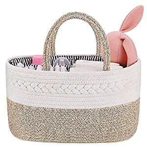 baby diaper caddy organizer, abenkle cotton rope handmade diaper storage basket, portable baby caddy basket for boy's nursery diaper organizer for changing table- ideal for shower, christmas(brown)……