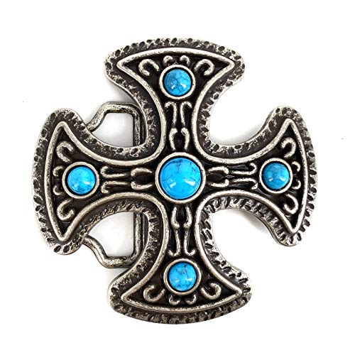 Lanxy Cool Western Cowboy Cross Celtic Turquoise Belt Buckle For Men Antique Gold Tone