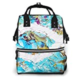 Nappy Changing Bag Backpack Belief Fish Oil, Large Diaper Bags Multi-Function Waterproof Maternity Nappy Back Pack for Baby Care, Stylish and Durable