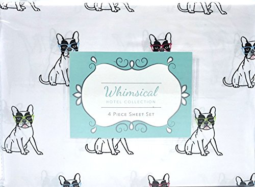 Whimsical Hotel Collection French Bulldog Dog 4 Piece King Sheet Set (Flat, Fitted, Pillowcases)