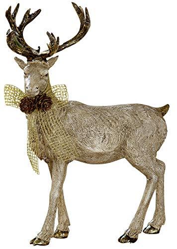 dekojohnson – Figura Decorativa de Reno Natural – Oro Beige 23 x 28 cm Grande – Reno de pie para Interior y Exterior