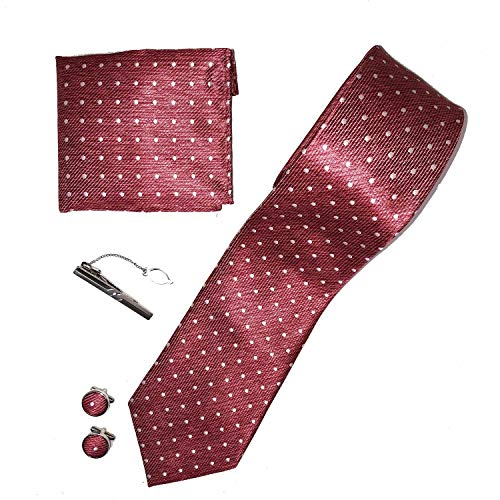 Ducomi Gentleman - Raffinato Cofanetto Coordinato Uomo Composto da Cravatta, Gemelli, Fermacravatta e Fazzoletto da Taschino - Elegante e Classico Regalo (Eternal)