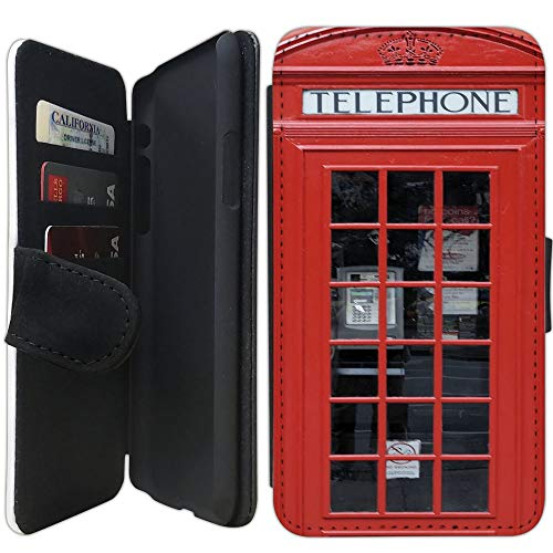 Flip Wallet Case Compatible with iPhone XR (Red Telephone Booth Best of London) with Adjustable Stand and 3 Card Holders | Shock Protection | Lightweight | Includes Free Stylus Pen by Innosub