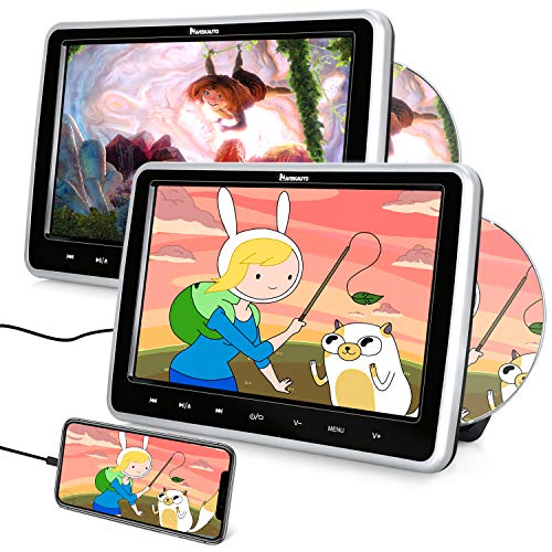 """10.1"""" Reproductor de DVD para Reposacabezas de Coche Soporta HDMI, Dual DVD Pantallas con 2 Auriculares para Niño soporta DVD Región Libre/USB/SD/AV-in/AV-out/AUX - NAVISKAUTO"""
