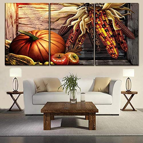 ZZJY Abstract Painting For Living Room Wall Art Picture Gift Home Decoration 3 Pieces Canvas Print Hd Printed Framed Ready To Hang For Living Room Corn Pumpkin And Fruit Mural Frame/40x60cmx3