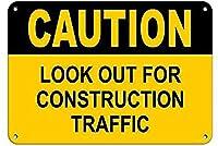 注意建設交通に注意してください。金属錫標識通知街路交通危険警告耐久性、防水性、防錆性