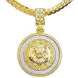 metaltree98 Men's CZ Lion Medallion Pendant 20' Miami Cuban Chain Necklace MCP 2048 G (20')