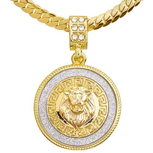 metaltree98 Fashion CZ Lion Medallion Pendant 20' Miami Cuban Chain Necklace MCP 2048 G (20')