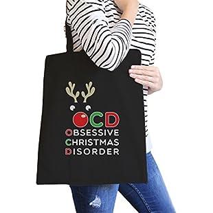 Rudolph OCD Black Heavy Cotton Canvas Bag Washable Cute Tote X-Mas Gift:Hitspoker