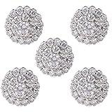 MYhose Botón Decorativo 5 Piezas 12 mm Botones Redondos de Flores de Diamantes de imitación de Cristal, con Adornos de Metal de Lazo Plata