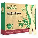 Messerset aus Bambus, 100 % Bambus, ohne Plastik, biologisch abbaubar, Einwegmesser aus Bambus, beste umweltfreundliche Alternative zu Holzmessern und Kunststoffmessern, 17 cm