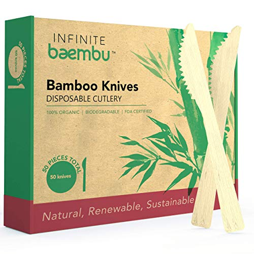 50 Piece Bamboo Knife Set - Genuine 100% Bamboo Knives | Plastic-Free Packaging | Biodegradable Knives | Bamboo Disposable Knives | Best Alternative to Wood Knives & Plastic Knives | 6.75' Utensils