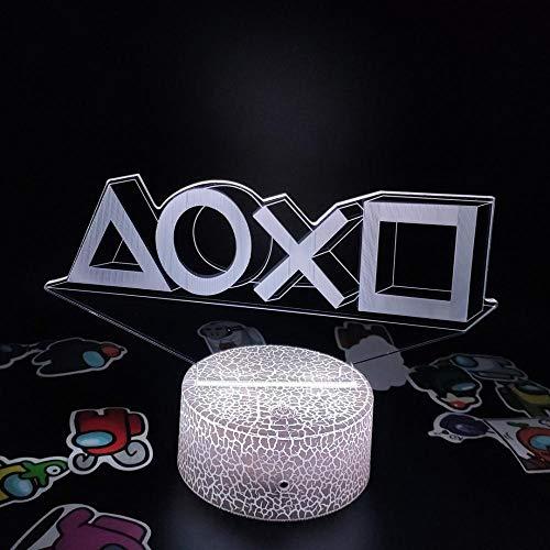 Lámpara de ilusión 3D Accesorios de Playstation Ps4 5 Xbox Gamepad Regalo creativo para amigos Decoración de escritorio de sala de juegos- E_16_Color_With_Remote