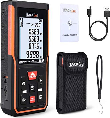 Telémetro Láser 40M, TACKLIFE S5-40, Pantalla Reiluminada, Carga con USB, Medición del Teorema de Pitágoras, Área y Volumen, con Bolsa de Protectora, con Función de Silencio