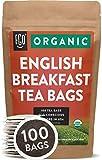 Organic English Breakfast Black Tea Bags | 100 Tea Bags | Chinese Keemun & Indian Assam Blend | Eco-Conscious Tea Bags in Kraft Bag | by FGO