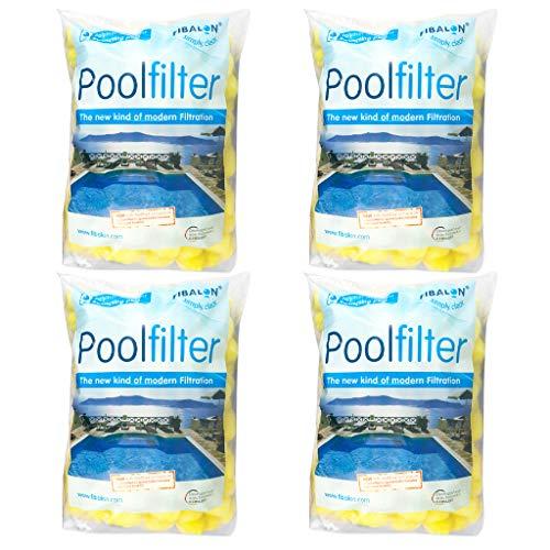 4 x FIBALON POOL - Hochwirksames Filtermaterial für Pool Sandfilteranlagen im 350g Beutel