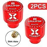 2pcs FPV Antenne Foxeer Lollipop 2 Mini Antenne FPV Stubby 5.8G 2.5dBi RHCP Antenne Super Mini TX RX SMA mâle pour RC FPV Drone Rouge