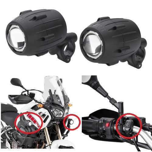 Compatible con Yamaha XT 660 X Proyectores Soportes GIVI S310 Faro Trekker Lights conexión Tubular Entre 21 y 25 cm homologado E11 Faros halógenos par de focos para Moto