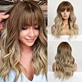 CAUGHTOO Ombre Blonde Wig Long Wave Wigs Ombre Blonde Wig with Bangs Medium length wig Synthetic Wigs with Bangs for Women Party Daily Hair Heat Resistant 22 Inch(Ombre Blonde)