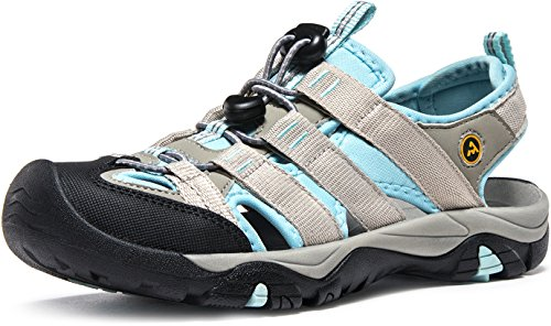 ATIKA Women Athletic Outdoor Sandal, Closed Toe Lightweight Walking Water Shoes, Summer Sport Hiking Sandals, All Terrain Orbital(w107) - Grey & Sky Blue, 6