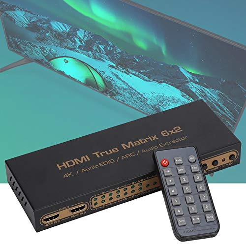 FOLOSAFENAR Admite la función ARC 2.97Gbps 6-In 2-out HDMI Matrix Splitter Soporte Pip Function Matrix Switch Splitter para proyector para monitores(European regulations)