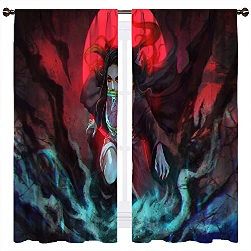 Anime Demon Slayer Figure Manga Living Room Blackout Curtains and Drapes Blackout Curtains W132xL160cm