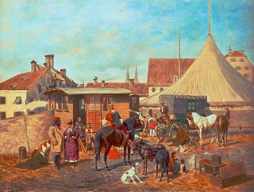 Impresión artística/Póster: Franz Quaglio Zirkus Am Kleinstadtrand - Impresión, Foto, póster artístico, 60x45 cm