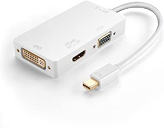 TNP Products TNP Mini DisplayPort to HDMI 4K/DVI/VGA Adapter Mini DP/mDP/Thunderbolt Port Compatible 1080P 4K 2K UHD High Resolution Video Audio AV HDTV (Male to Female) Active Converter Cord White