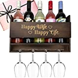 GIFTAGIRL Popular Wife Gifts for Her - Fun Wine Gifts for Wife Like Our Happy Wife Happy Life are Ideal Anniversary, Birthday for Wife from Husband. Unique Wine Gifts for Women