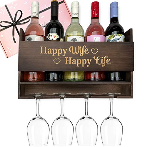 GIFTAGIRL Wine Gifts for Wife from Husband - Fun Gifts for Her, Birthday Gifts for Wife, or Wine Gifts for Women, Our Happy Wife Gifts are Ideal for Any Anniversary, Birthday or Unique Gifts for Wife