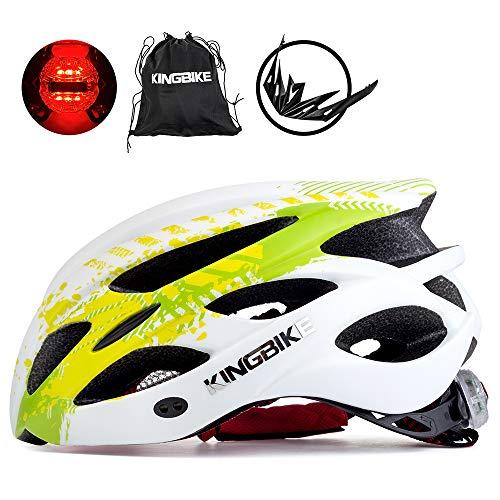 KING BIKE Fahrradhelm Helm Bike Fahrrad Radhelm mit LED Licht FüR Herren Damen Helmet Auf Die Helme Sportartikel Fahrradhelme GmbH RennräDer Mountain Schale Mountainbike MTB (Grün Weiß, M/L(54-59CM))