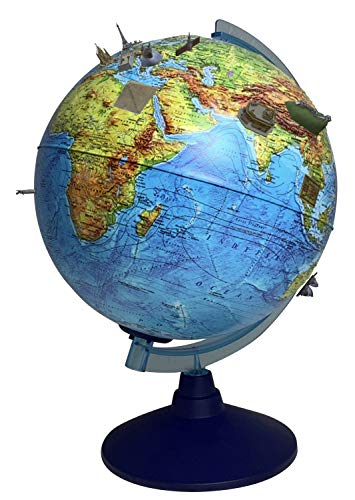 alldoro 68600 3D Lexi Globus Ø 25 cm mit Smartphone IQ Globe App, Leuchtglobus mit LED Lampe ohne Kabel, Kinderglobus mit Relief, Weltkarte geographisch & beleuchtet politisch, für Kinder ab 3 Jahre