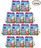 Qemsele Party Bags Drawstring Backpacks 12pcs, Kids Birthday Party Give Aways Supplies Beach Swim Gift Pouch Goodie String Reusable Bags for Children Boys Girls Toddlers (W10'H12', Peppa Pig)