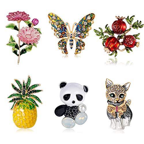 KISSBELLY Brosche Vintage Anstecknadel Tier Insekt Pflanze Broschen Fuer Kleidung Deko Damen Schmuck