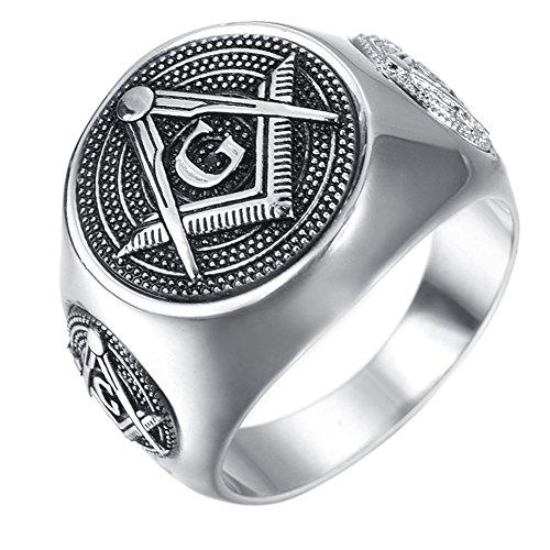Fengteng Silber Farbe Rundform Freimaurer Templer Ring Freemason Siegelring A G Symbol Herren Hübscher Fingerring Geschenk (65 (20.7))