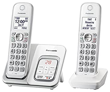 Panasonic DECT 6.0 Expandable Cordless Phone with Answering Machine and Smart Call Block - 2 Cordless Handsets - KX-TGD532W  White/Silver