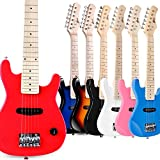 WINZZ 30 Inches Real Kids Electric Guitar with Beginner Kit, Right Handed, Red