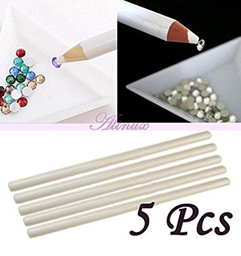 fengge 5pcs Mini bolígrafo de uñas mágico Penning Pencils piedras preciosas lápiz (blanco)