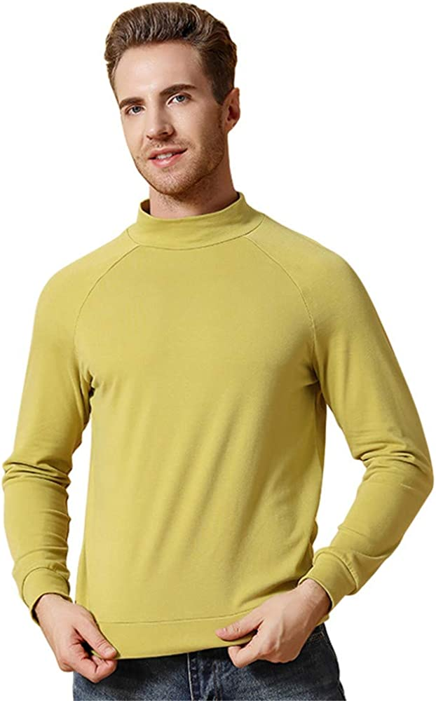 Dizadec Thermal Top for Men, Men's Slim Fit Turtleneck Shirts Long Sleeve Stretchy Pullover Thermal Casual Basic Top