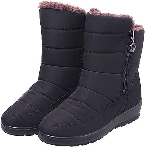 ZHRUI Bottes de Neige pour Femmes Chaussures imperméables en Coton antidérapant (Couleuré   Noir, Taille   35EU)