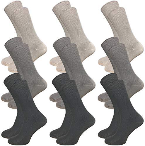 9 Paar Venensocken ohne drückende Naht – Socken ohne Gummi – Damen & Herren – Gesundheitssocken mit Komfortbund (43-46, grautöne)