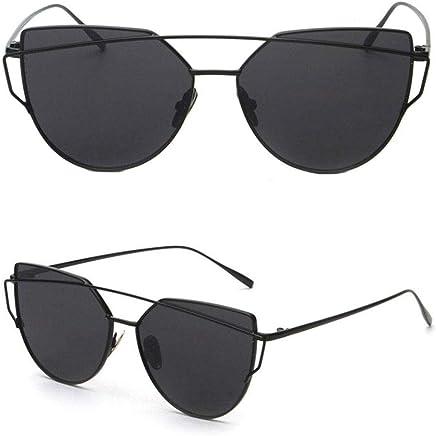 Mirrored Cat Eye Fashion Sunglasses Designer Style Black Frame Black Lens