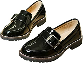 Hopscotch Boys and Girls 90% PU + 10% Synthetic/PU Buckle Applique Moccasin in Black Color, UK:3.5 (FCS-3143347)