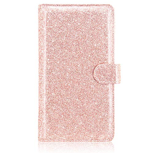 Checkbook Cover(2020 Edition), ACdream Premium Leather Personal Checkbook Cover Holder for Women & Men with Magnetic Closure (Support Checks & Credit Cards), Glitter Rose Gold