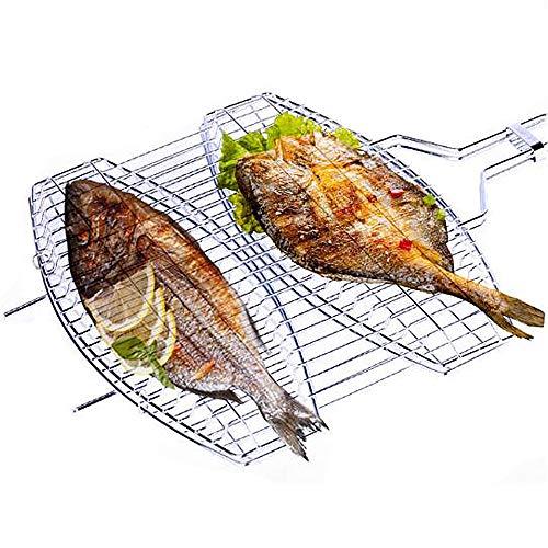HUOFEIKE Travail Portable Panier Griller BBQ Barbecue Outil pour Côtelettes de crevettes de Viande Steak de légumes Poisson avec poignée Anti-échaudage, en matériau Durable en Acier Inoxydable 430