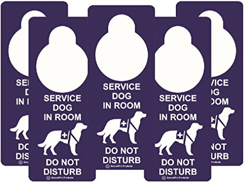 """SecurePro Products Service Dog Information Travel Pack - Includes: 5 """"Service Dog In Room /Do Not Disturb"""" """"Premium Quality Vinyl"""" Plastic Double-Sided Door Hanger Signs + 5 ADA Service Dog Info Cards"""