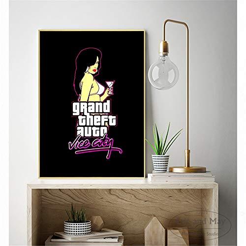 hetingyue Frameless zwart spel muur poster en print kunst op canvas moderne decor thuis